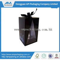 custom black matt paper wine carrier box with PET window