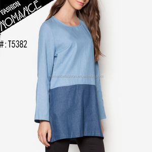 Long sleeve women Blocked Denim Tunic tops 100% cotton