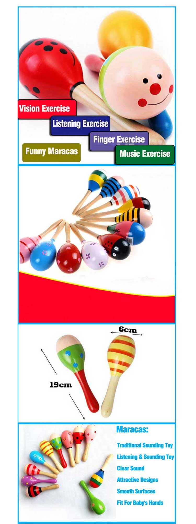 Colorful Safety Custom Maracas Wholesale Funny Wood Custom Maracas