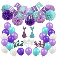 Birthday party decoration little mermaid birthday party supplies banner, pom pom flowers, hat, balloons cupcake toppers