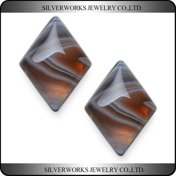 Genuine 925 Sterling Silver Rhombus Brown Banded Agate Stud Earrings Base