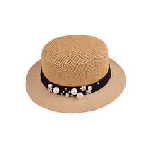 Wholesale cute gril summer straw hat with flower and ppearl decorated ribbon