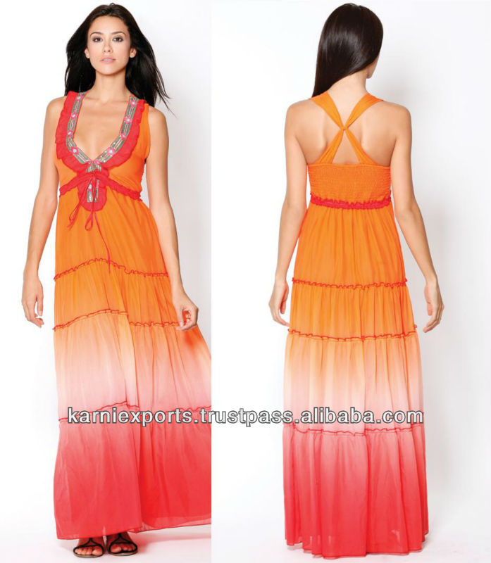 Long Style of Length and Spaghetti Strap Design tie dye girl dress / Long casual maxi gowns for womens wear