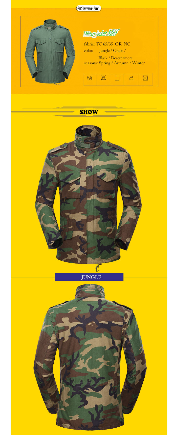 Waterproof Resistant M65 Coat overcoat windproof thermal Military Field Jacket