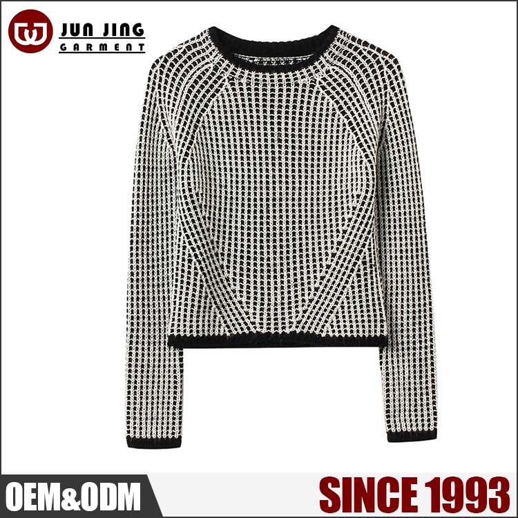 OEM/ODM plus size design fashion outwear pullover 60% Acrylic 30% Wool O-neck fashion long sleeve sweater women