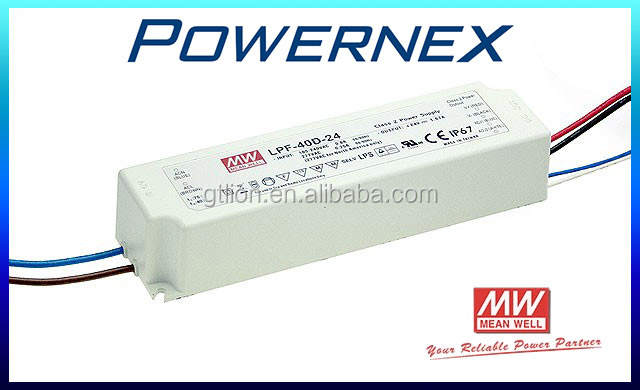 [ PowerNex ] Meanwell Single Output power supply LPF-40-24 (40W 24V 1.67A) Full isolated plastic case, Dimmable LED Driver