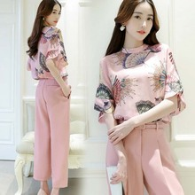WA5164 unique printed lady casual pants plus printing blouses suit for summer