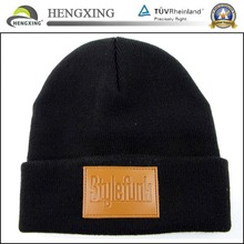 Wholesale custom patch winter beanies hat/leather patch beanies