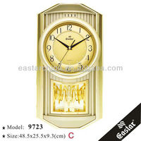 Arabic decoration wall clock music golden decorative