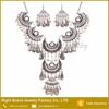 Indian New Design Antique Silver Alloy Rhinestone Statement Necklace Jewelries Set For Women