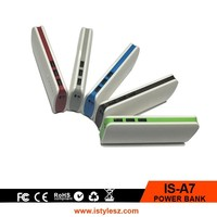 popular slim power bank with multi-output , led light power bank