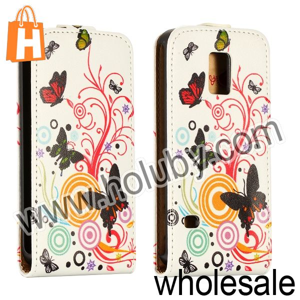 2014 Fashion Vertical Style Magnetic Flip Stand Leather Cover Case for Samsung Galaxy S5 Mini