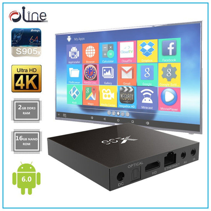 2gb ram quad core cpu 16gb rom X96 stb android 6.0 marshmallow tv box High speed decoder box cable tv