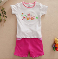 Girls fashion clothing children short sleeve T-shirt suit wholesale