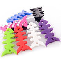 Silicone Rubber Fish Bone Earphone Cord Wire Cable Winder Organizer Holder