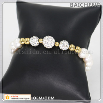 Fashionable design bracelet Good quality pearl beads bracelet with Small steel bear charm bracelet