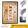 Battery powered led light box chinese food open led sign chinese light box menu board aluminum frame light box