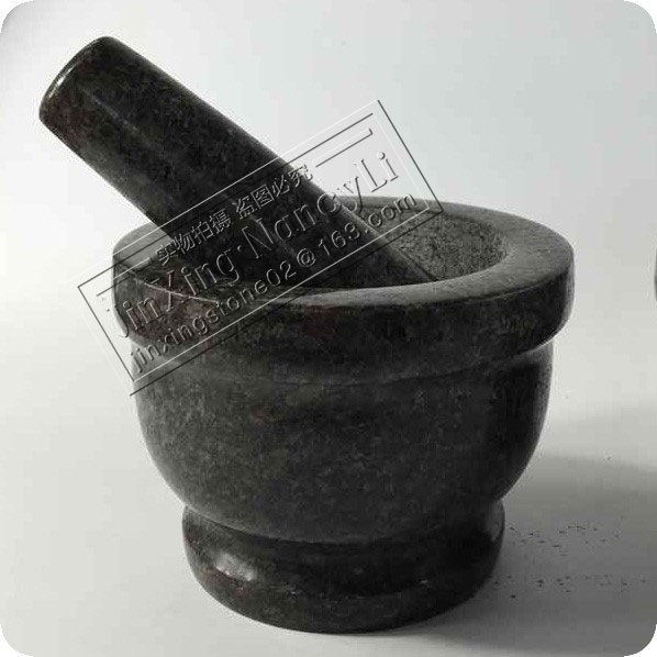 Wholesale Natural Stone Garlic Guacamole Set Black Polished Solid Granite Mortar and Pestle