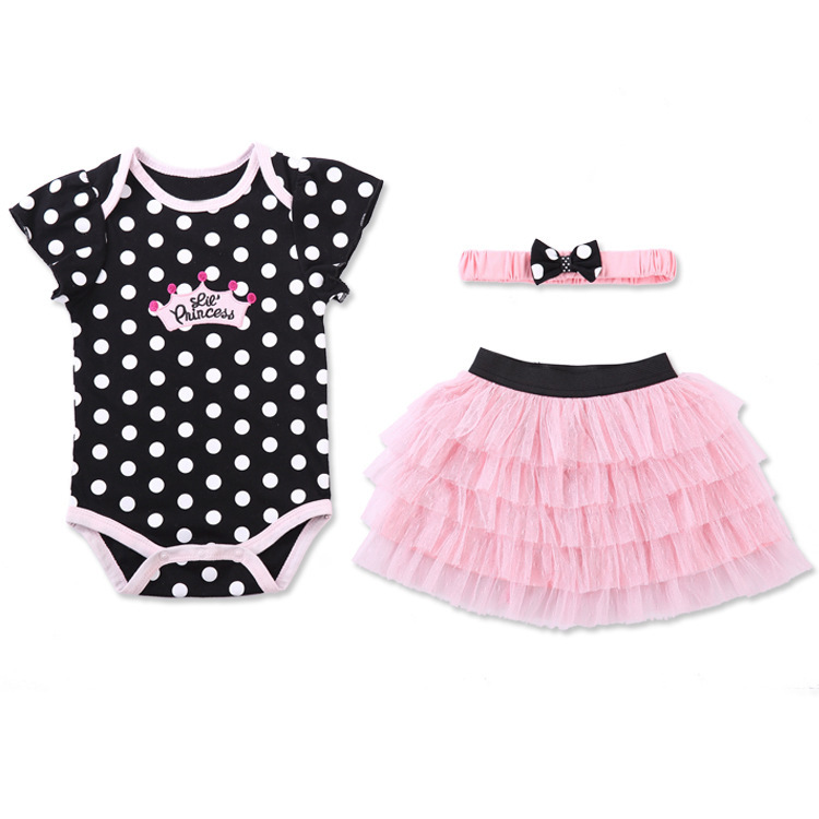 New Fashion cute lace baby girl romper dress with baby hair band gift set