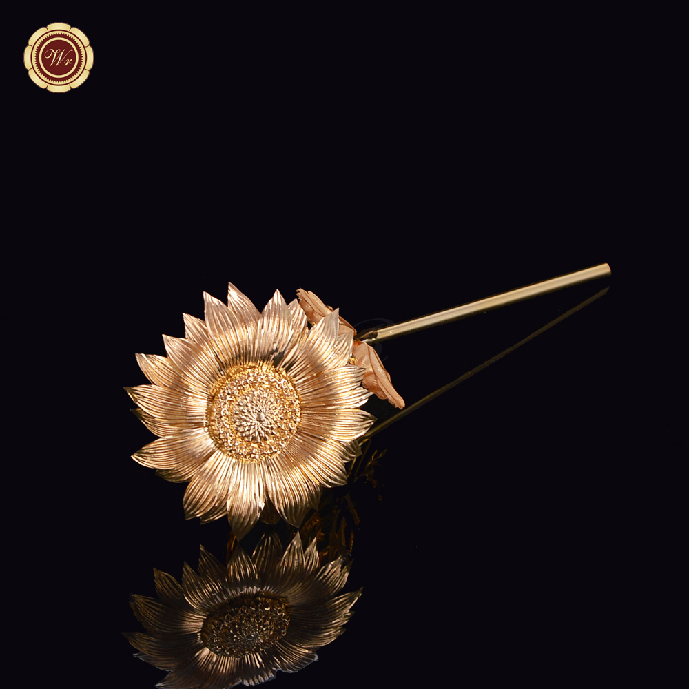 WR Handcrafted Handmade Gold Sun Flower 24k Gold Foil Flower with Nice Gift Box Wedding Christmas Gift