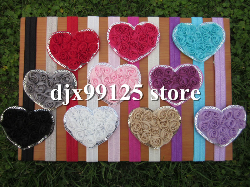 Chiffon Shabby Flowers Heart with 1.5cm Baby Headbands for Hair Accessoires IN STOCK