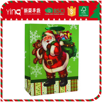Yiwu wholesale christmas gift packaging 3d santa claus shopping paper bag