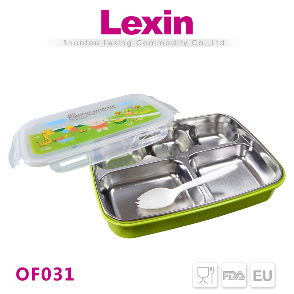 leakproof stainless steel bento lunch box with dividers buy bento box leakp. Black Bedroom Furniture Sets. Home Design Ideas