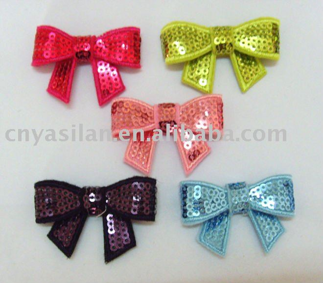 "2"" Embroidered Sequin bows, baby hair bows YL01264"
