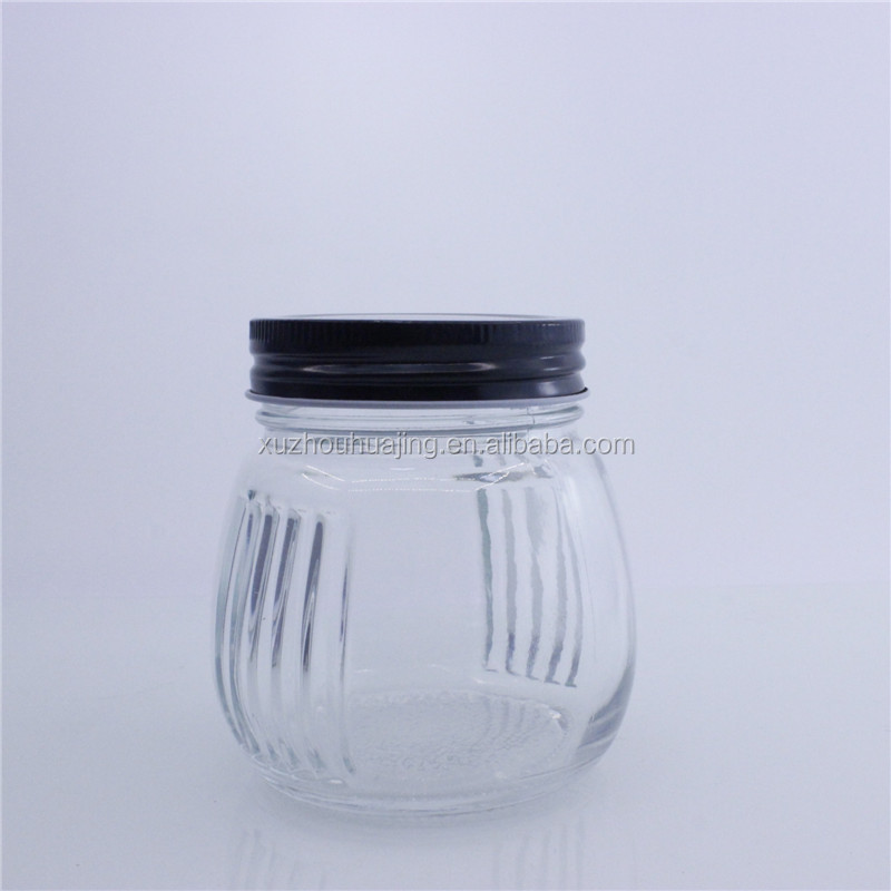 High quality 330ml 12oz round ball shape glass mason jars with metal twist off cap wholesale