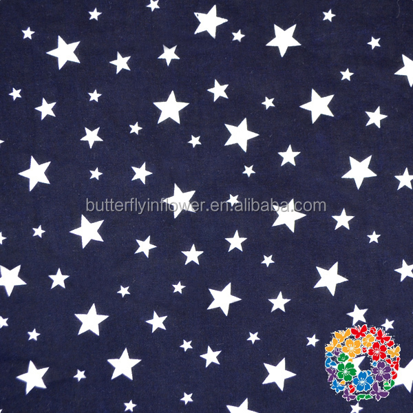 Little Stars Printed Navy Color Fashion Fabrics 100% Cotton Soft Fabrics Wholesale Factory price