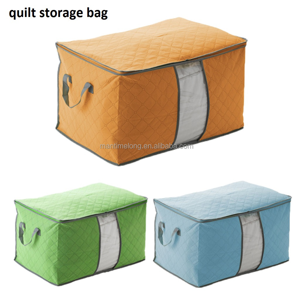 foldable non-woven quilt storage bag clothes organizer for home and travel