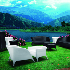 Rechargeable glowing luxury modern PE plastic garden led classic sofa furniture set
