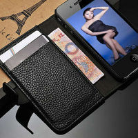 PU Leather case for iPhone 4s 4 Wallet design phone case for iPhone4s 4g card holders +bill site stand leather cover for iPhone4