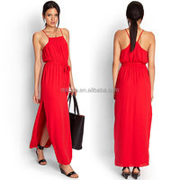 Fashion Design High Quality Lady Modest Long Prom Dresses Halter Red Maxi Cotton Prom Dresses Made In China