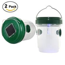 2 PCS Wasp Trap Catcher Solar Powered LED Light Effective Traps for Wasps, Bees Solar Wasp Trap