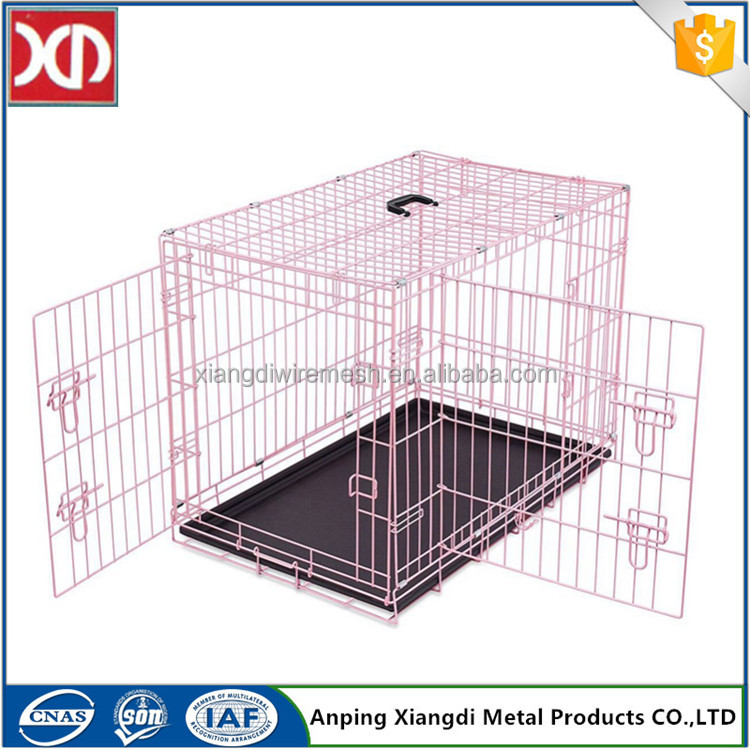 Custom color foldable metal spraying plastic dog cage with double door