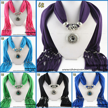 Solid Color Polyester New acrylic gemstone Pendant Necklace Jewellery Scarf