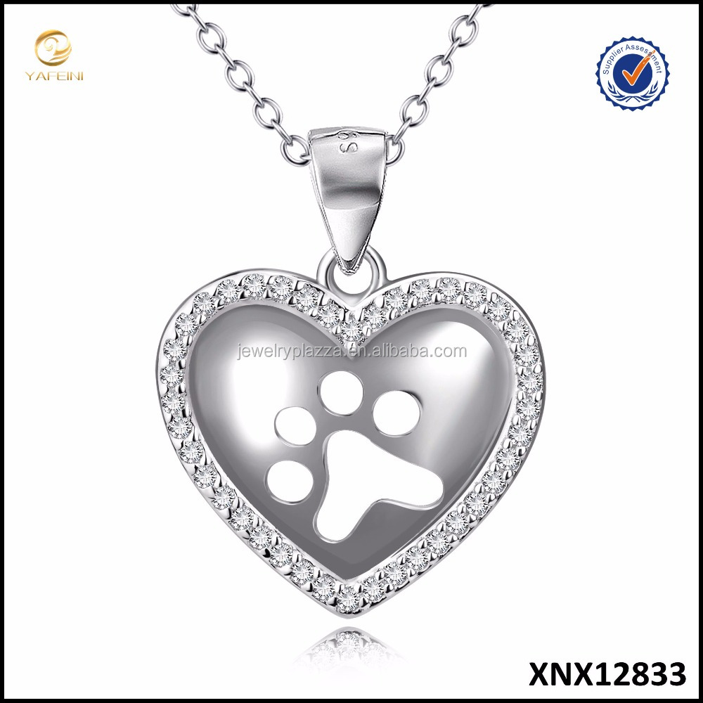 Paw Heart Jewelry 925 Sterling Silver White Cubic Zirconia Pendant Necklace For Women