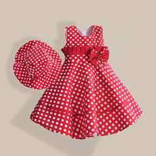Red polka dots frock design fluffy elegant dress kids beautiful model dresses