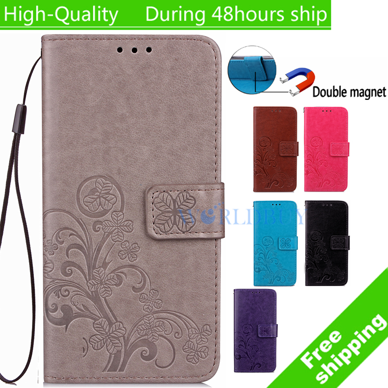 For Samsung Galaxy S3 III mini i8190 Clover printed pattern Leather Case TPU Back Cover Flip Shell Stand Wallet Bag Card Holder