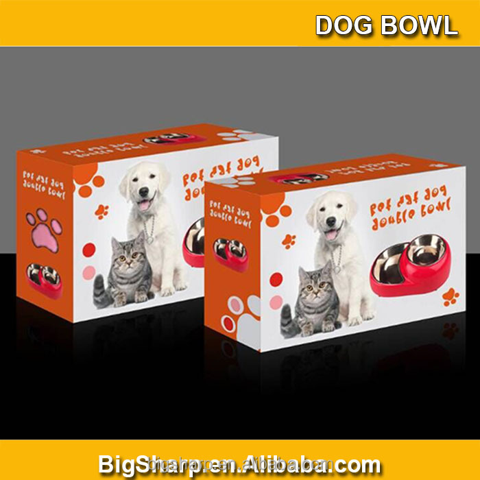 Bigsharp wholesale high quality detachable dual antiskid Stainless steel purple double dog bowl 3 colors