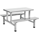 Stainless steel durable restaurant and canteen 4-people/6-people dining table and chair