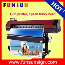 Funsunjet FS1700M 1.7m sticker cutting and printing machine with one DX5 head fast printingwith one DX5 head fast printing speed