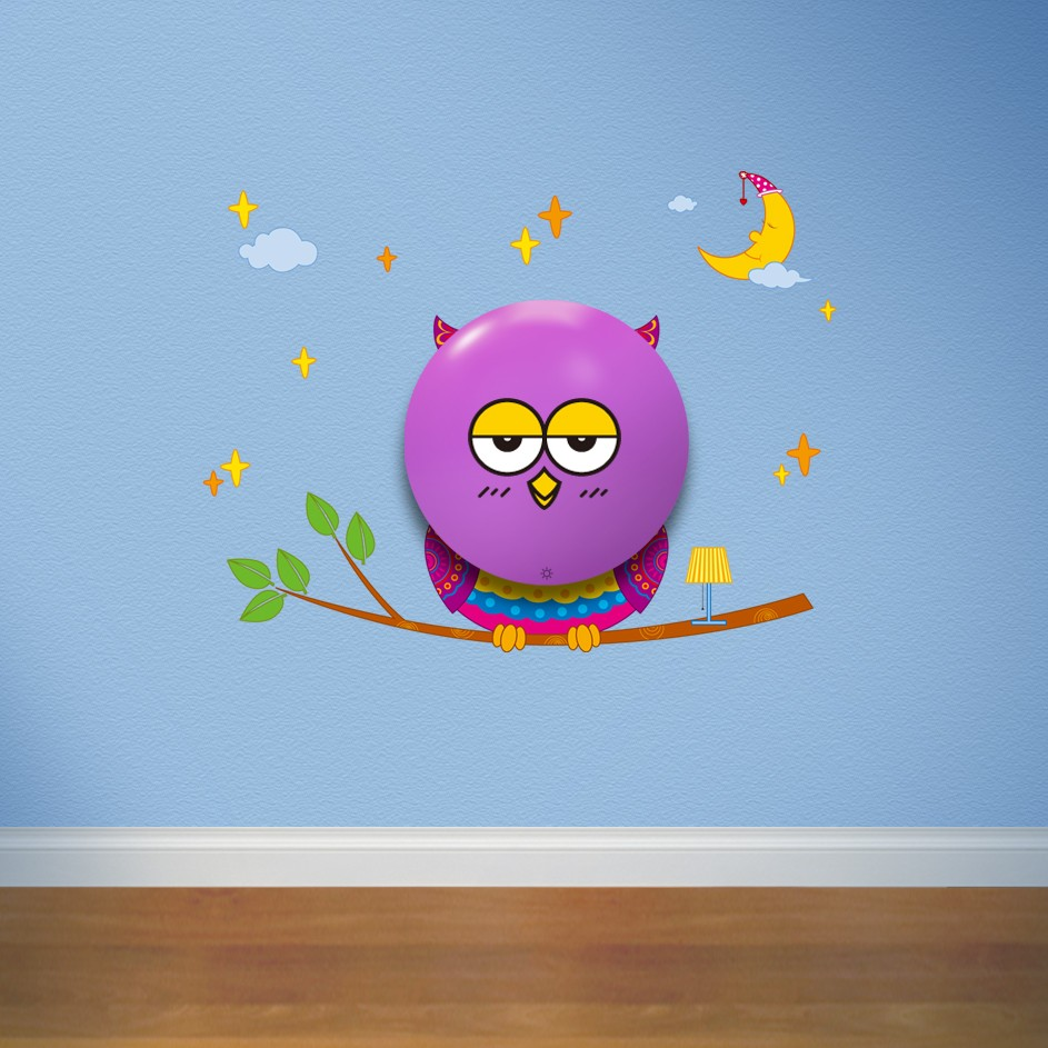 Indoor home decor owl shaped 3d wall sticker night light