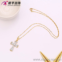 fashion jewelry religious necklace with cross and zircon pendant