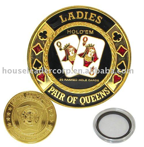 "''Ladies-Pair of Queens"" Poker Card Guards Protector"