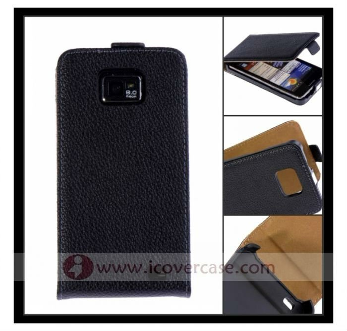 Lichee pattern Full grain Genuine leather flip cover case for Samsung Galaxy s2 i9100