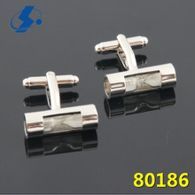 High end custom men's unique charm glass cufflinks and shirt studs