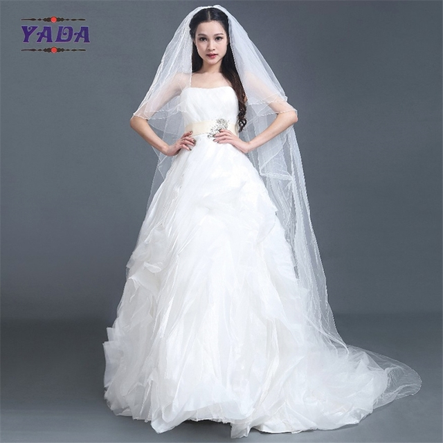 Luxury off shoulder organza fabric bust latest gowns long tail ball gown alibaba wedding dress