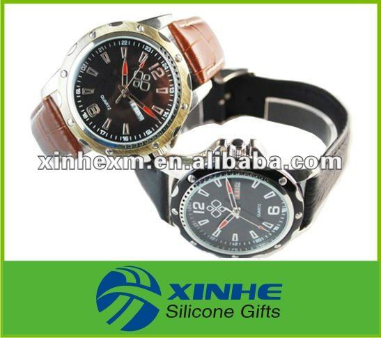 new arrival mens leather western watches 2012 for best gifts